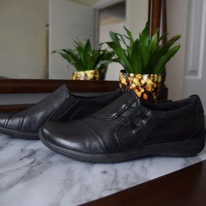 Earth Black Leather Slip on Shoes- Size 9.5